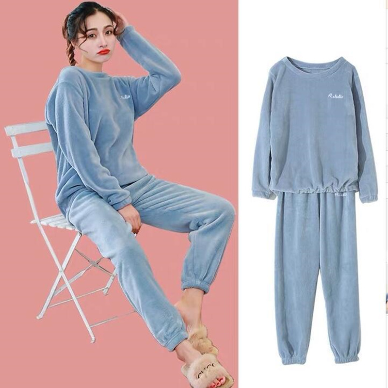 Flannel Women Pajamas Sets For Women Autumn Winter Warm Pajamas Homewear Animal Sleepwear Female Pajama