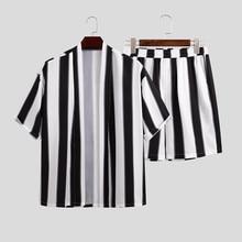 Japanese Clothing Summer Men Striped Sets Streetwear Loose Open Stitch Short Sleeve Shirt Fashion Shorts Casual Mens Sets