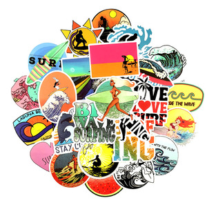 Image 2 - 10/30/50 pcs/pack INS Fun Beach Surfing Stickers For Laptop Luggage Skateboard Guitar Motocycle Doodle Decor Surfboard Stickers