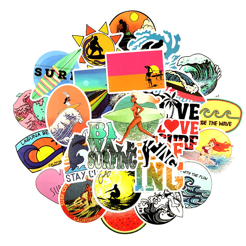 Image 2 - 50Pcs/Set INS Fun Beach Surfing Stickers For Laptop Luggage Skateboard Guitar Motocycle Doodle Decor Helmet Surfboard Stickers-in Stickers from Toys & Hobbies