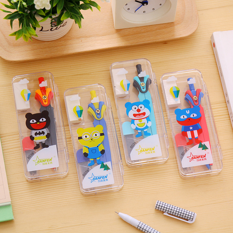 20 Sets Drawing Compass Set With Eraser Refill Cute Cartoon Stationery Student Mathematics Professional Drafting Tools Wholesale