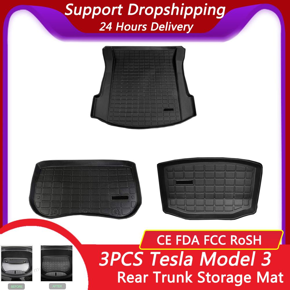 3PCS Car Rear Trunk Storage Mat Cargo Tray Trunk Waterproof Protective Pads Mat Compatible For Tesla Model 3 Trunk Mats
