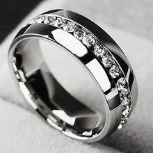 Diamond Ring Semi-Precious Stones Finger Ring Stainless Steel Exquisite Women Bridal Wedding Ring Trendy Female Wedding Promise(China)