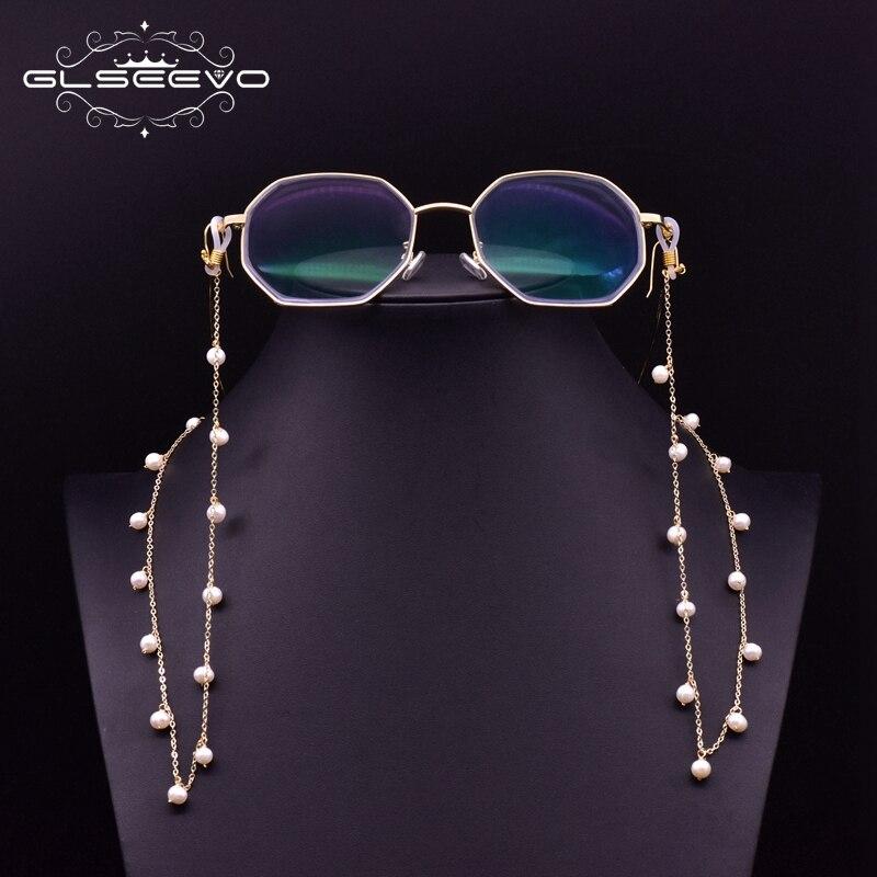 Glseevo artesanal natural branco pérolas óculos cadeias pendurado pescoço titular para as mulheres mãe do vintage acessórios de leitura gh0012