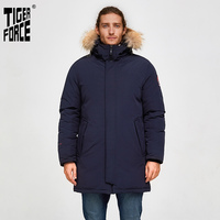 Tiger Force Men Winter Jacket Outdoor Alaska Snowjacket Male Thicken Medium long Warm Coat with Hooded Real fur Overcoat