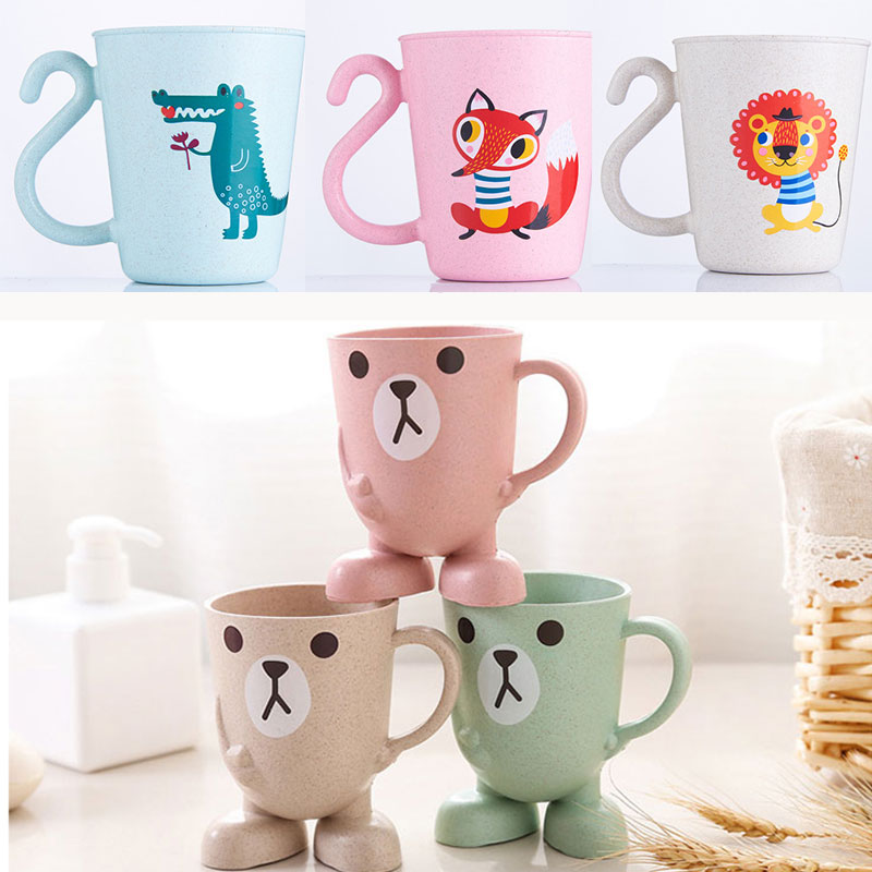 Cartoon Children Baby Bamboo Toothbrush Cup For Kids Learn Drink Feeding Bottles Baby Training Cups Baby Wash Cup Water Cups