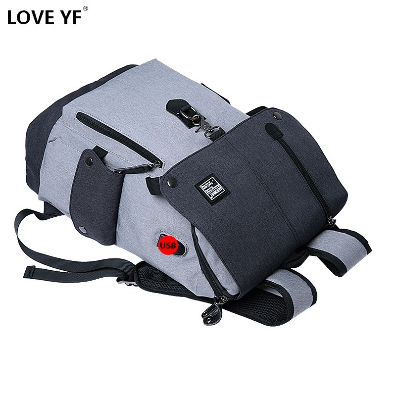 Men's School Bag Laptop Backpack Multi-functional Travel Bag Casual Shoulder Bag Youth College Bag USB Charging Anti-theft Backp