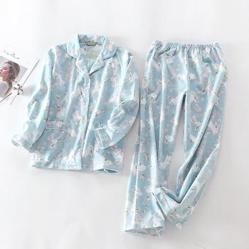 Pure Cotton Pajamas Set Women Pyjama Cartoon Bunny Print Female Winter Sleepwear Warm Sexy Homewear Long Shirt Pants 2 Piece/Set - discount item  38% OFF Women's Sleep & Lounge