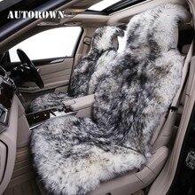AUTOROWN housses de siège de voiture en peau de mouton australienne naturelle, pour siège avant, pour voiture, taille universelle, 1 pièce, accessoires dintérieur
