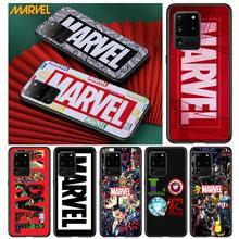 Marvel logo cool for Samsung S20 FE Ultra Plus A91 A81 A71 A51 A41 A31 A21 A11 A72 A52 A12 Soft Black Phone Case