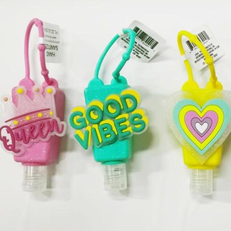 1PCS 30ml Cute Heart Silicone Mini Hand Sanitizer Hand Gel Holder Portable Safe Gel Holder Travel Shampoo Soap Dispenser Bottle