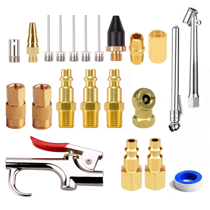 22Pcs 1/4 Inch NPT <font><b>Air</b></font> Blow <font><b>Fittings</b></font> Kit with Tire Inflation Needles Chuck <font><b>Air</b></font> Compressor <font><b>Connector</b></font> Couplers and Plugs Hose Spli image