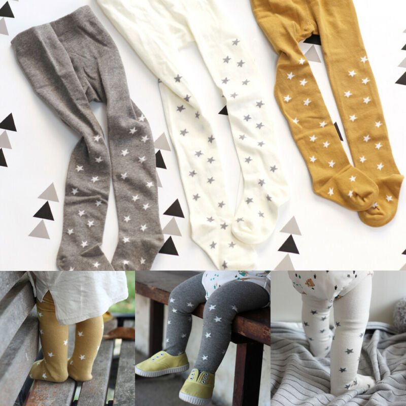 1-6Y Autumn Winter Newborn Toddlers Kids Baby Girls Leggings Star Print Cotton Tights Thin Pantyhose Stockings
