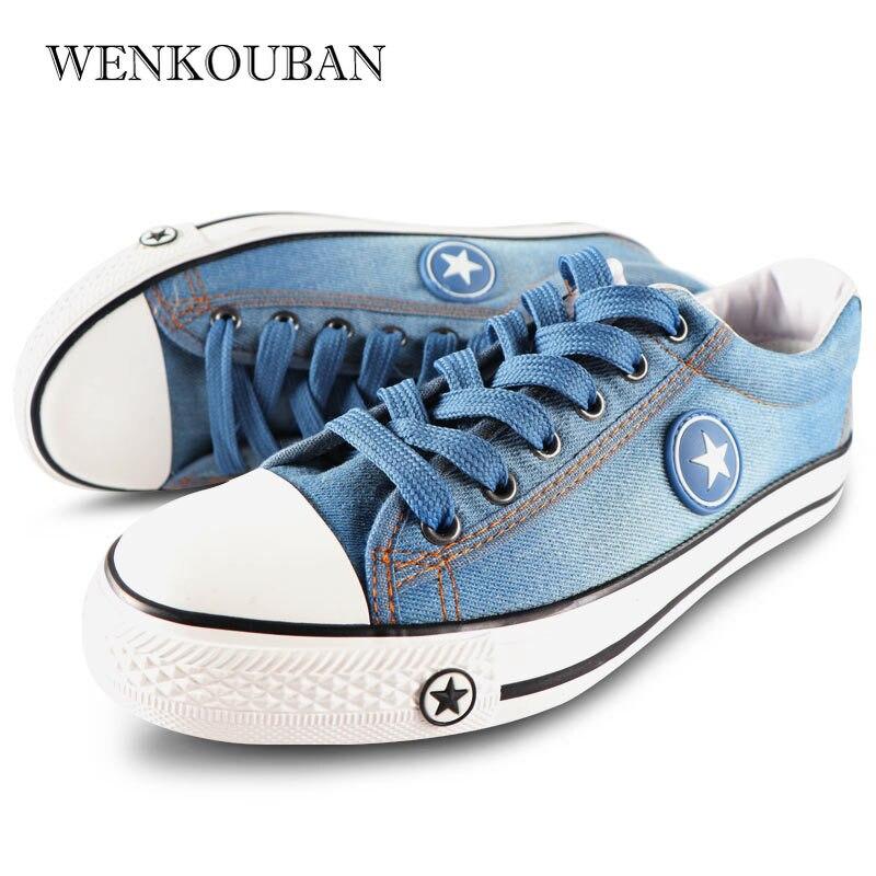 Image 4 - Denim Sneakers Men Vulcanize Shoes Lace Up Canvas Trainers  Men Casual Shoes Anti Slip Sneaker Male Flats Zapatos De HombreMens Vulcanize Shoes   -