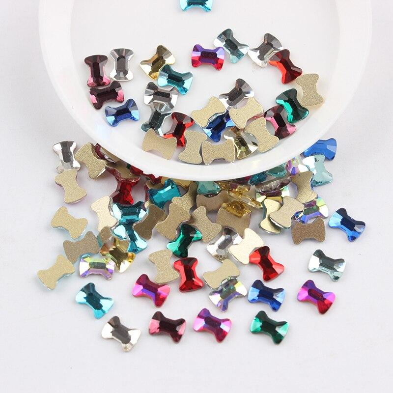 Все смешанные цвета, 30 шт, стразы для дизайна ногтей, сделай сам, без горячей фиксации, стеклянные камни для ногтей, драгоценные камни для 3D украшения для ногтей - Цвет: 4.5x6mm Bow tie