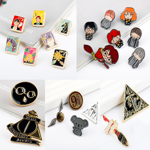27 Style Movie Hogwarts School Brooch Deathly Hallows Pin Poison Bottle Nimbus 2000 Badge Backpack Lapel Pins For Lady Kid Gift