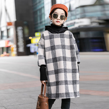 Teen Childrens Woolen Dress Winter Kids Dresses for Girls Clothes Fleece Thick Plaid Hooded Cotton Outfits 8 10 12 Y