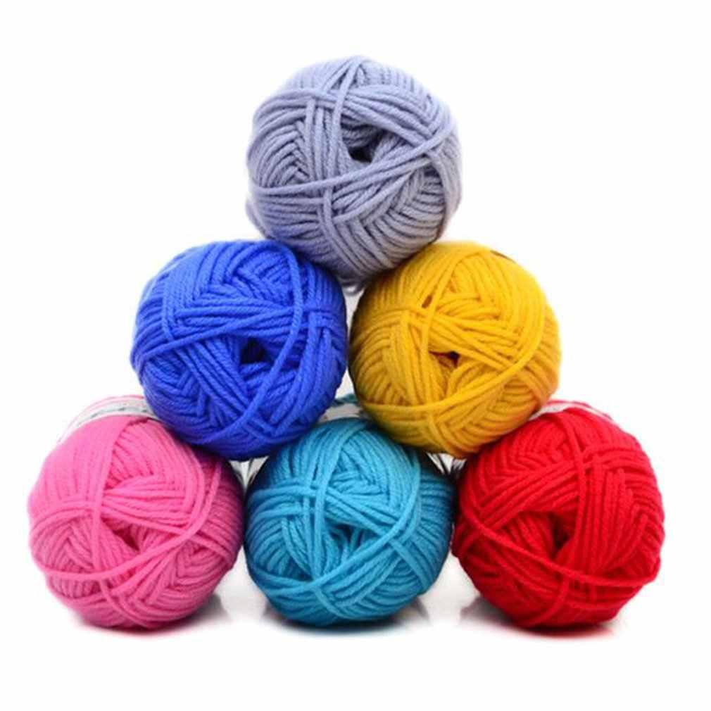 Venta al por menor 25g/bola colorido 4 # peinado suave bebé leche algodón hilo fibra terciopelo hilo tejido a mano lana hilo de ganchillo DIY SweaterJK476