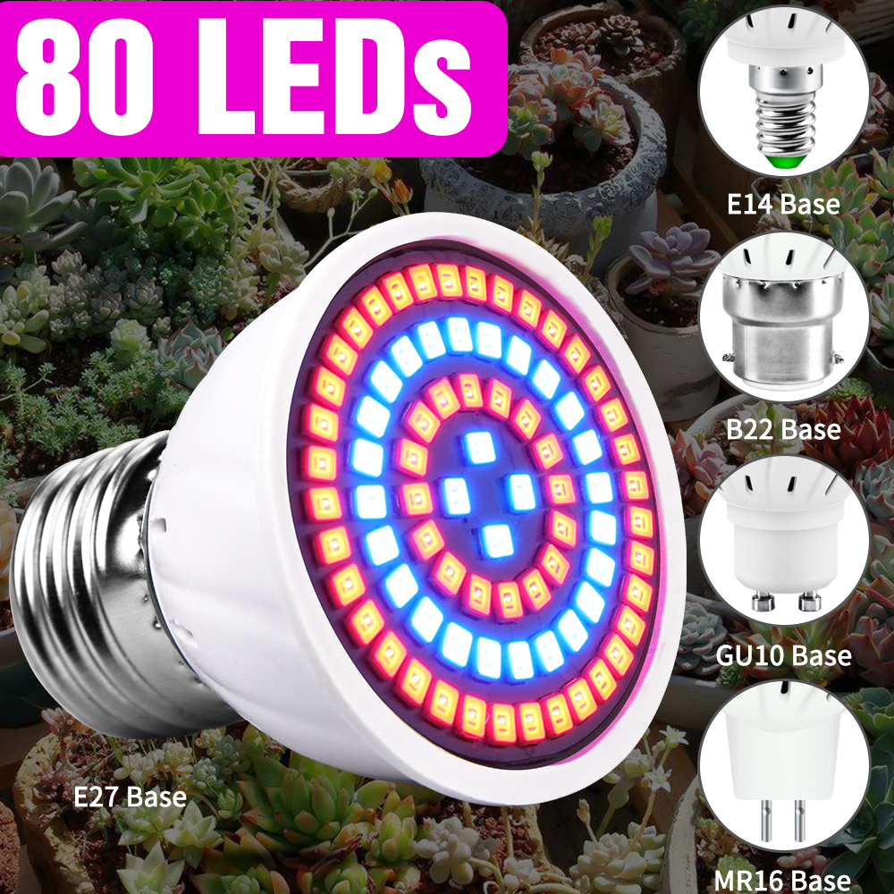 80leds E14 Full Spectrum Led Lamp Plants Grow Light E27 220V Growing Lamp GU10 Fitolamp MR16 Hydroponic Indoor Grow Tent B22