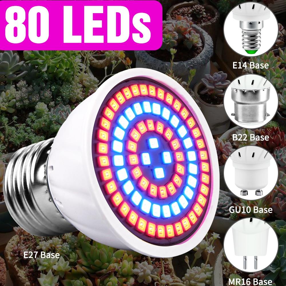 80 светодиодов E14 полный спектр светодиодные лампы растения растут светильник E27 220 В растущая лампа GU10 Fitolamp MR16 гидропоники Крытый растут пал...