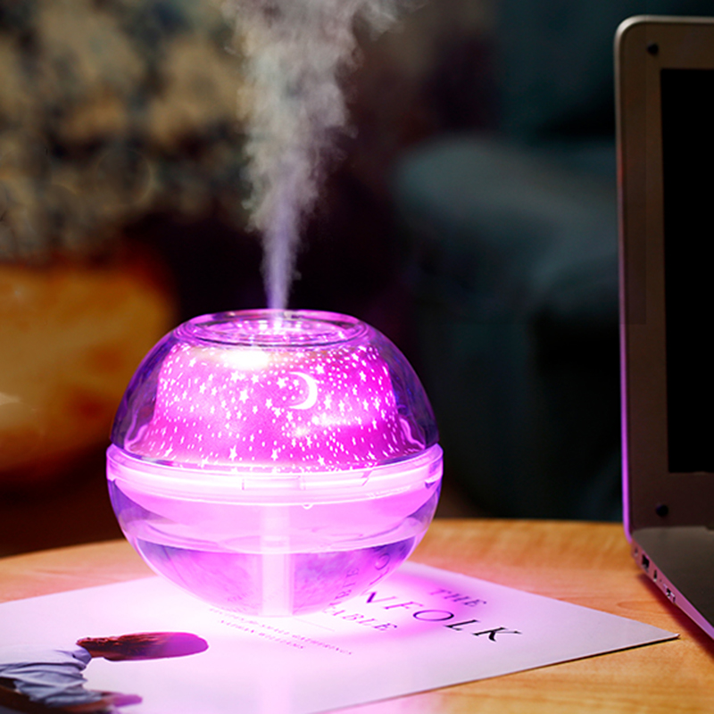 Mini USB Humidifier Crystal Colorful Night Atmosphere Light Star Projection Humidifier Home Humidifier