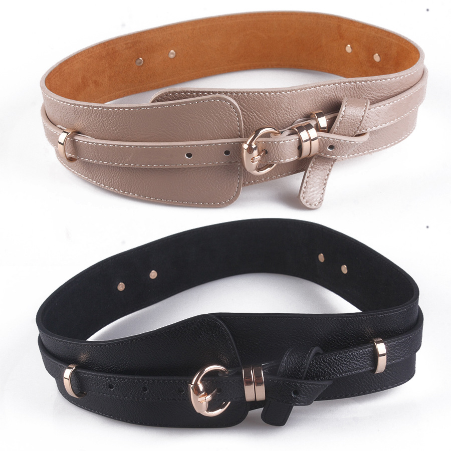 Pin Buckle Wide Belt Women's Accessories Fashion Decoration Girdle Europe And America Versatile Overcoat PU Leather Belt F156