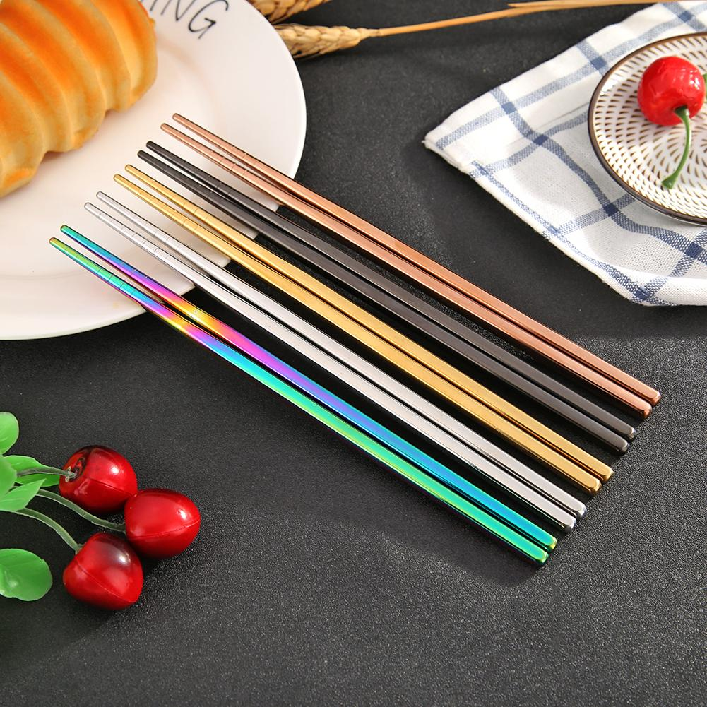 1 Pair Stainless Steel  Metal Chopsticks Non-slip Stainless Steel Chop Sticks Set Reusable Food Sticks Eco-friendly Tableware