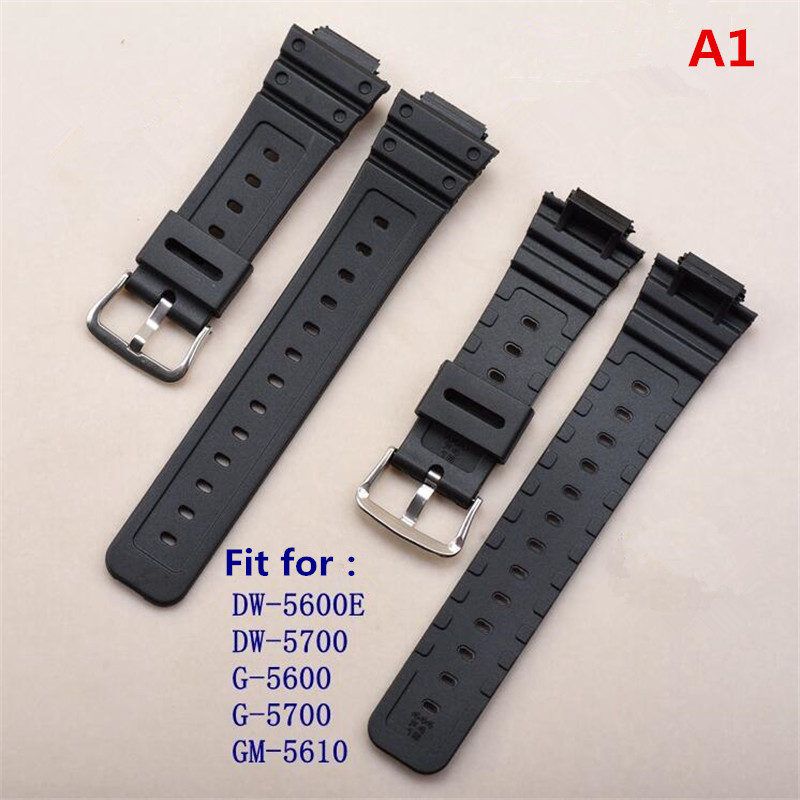On Sale Convex Mouth 16mm White Silicone Rubber Watchband Matt Black Strap For G shock DW-5600 G-5600/5610 DW6900 9052 Watch   Watchbands