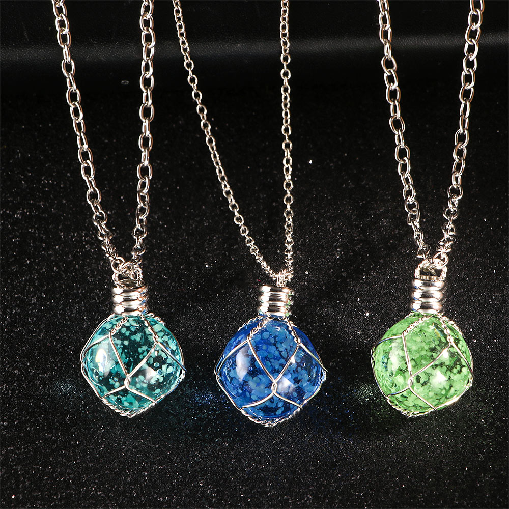 Creative Luminous Crystal Ball Pendent Necklace Green Blue Glow In The Dark Necklace For Women Jewelry