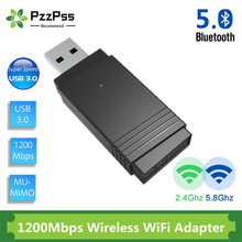 PzzPss USB 3.0 Wi-fi 1200Mbps Adapter Dual Band 2.4Ghz/5.8Ghz Bluetooth 5.0/WiFi 2 in 1 Antenna Dongle Adapter for PC Laptops