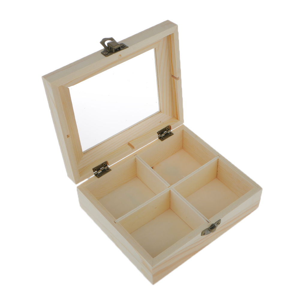 Natural 4 Grids Unpainted Wood Jewelry Storage Box Chest Case With Glass Lid