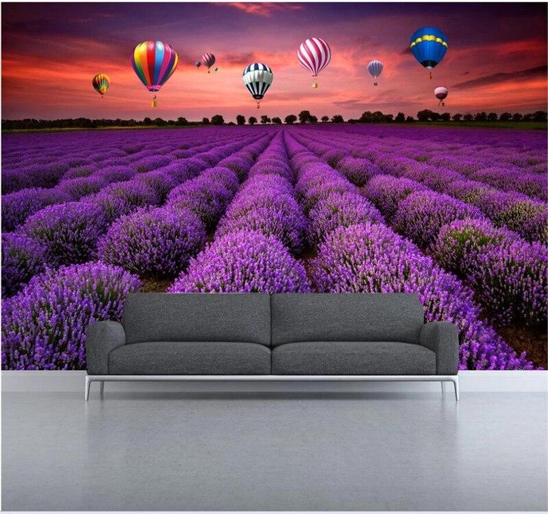 Professional Custom Wallpaper Aesthetic Mood Idyllic Lavender Hot Air Balloon Decoration Painting Background Wall