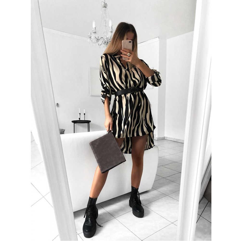 Sexy Del Leopardo Della Maglietta Delle Donne Del Vestito Manica Lunga Randello Del Partito Del Vestito Elegante Signore con Scollo a V Ol Veste Femme Abiti Streetwear
