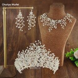 C001 Three-Piece Set Bridal Crown Rhinestone Crown Wedding Party Dual-Use Wedding Accessories For Women Coroa De Noiva