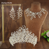 C001 Three Piece Set Bridal Crown Rhinestone Crown Wedding Party Dual Use Wedding Accessories For Women Coroa De Noiva