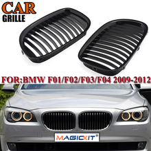 MagicKit 2Pcs/Pair Front Cae Gloss Black Sport Hood Kidney Grille Grill For for BMW 7 Series F01 F02 730LI 740L 2009-2012