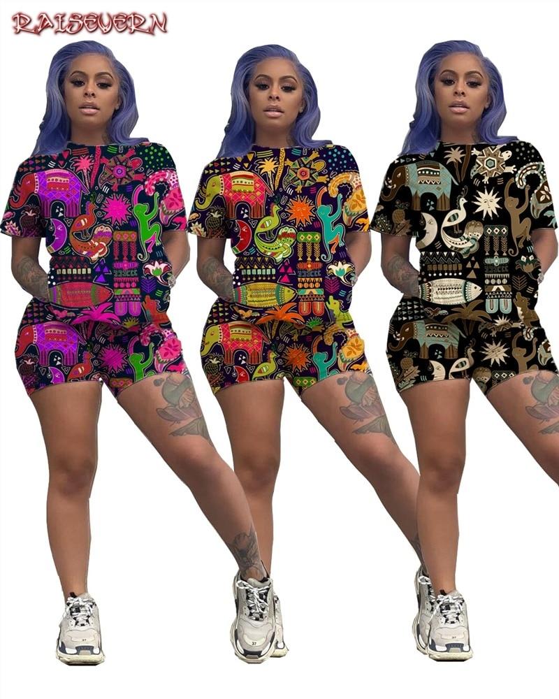 Комплект из 2 предметов с разноцветным принтом; летняя одежда для женщин; футболка с круглым вырезом и короткими рукавами и байкерские шорты...