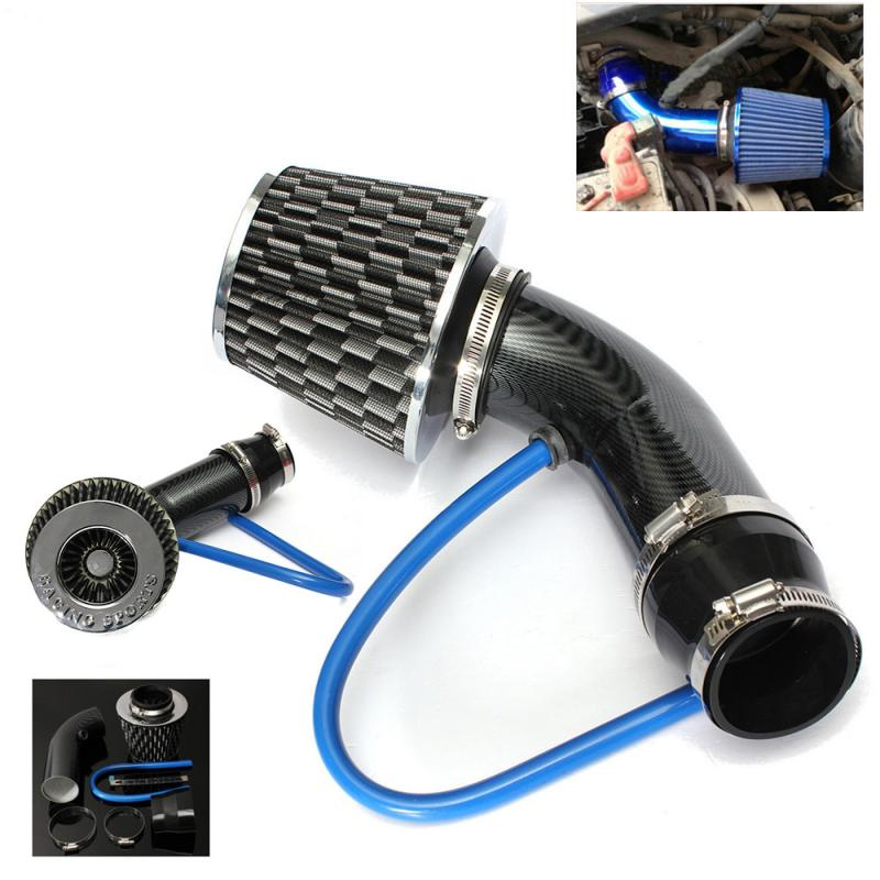 1pc Universal Car Racing Cold Air Intake Filter Aluminum Pipe Power Flow Hose Kit Drag Pipe Power Cones Anti-Reversion Cones