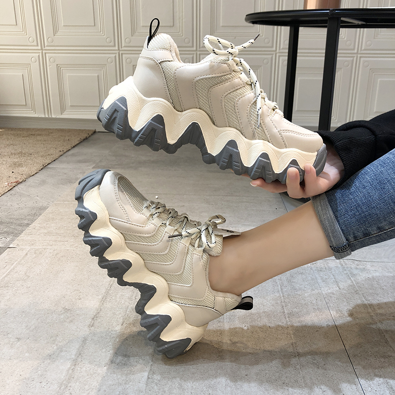 Women Platform Chunky Sneakers 5cm High Lace-up Old Dad Casual Vulcanize Shoes Luxury Designer Tenis Female Fashion Sneaker 2020