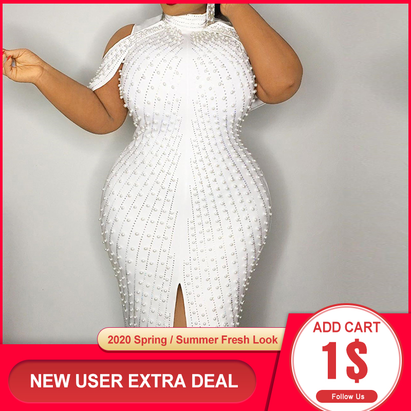 Beading White Plus Size Bodycon Dress 5xl 2020 Sexy Party Dinner Club Midi Dresses Robe Elegant Split Female Vestidos Summer
