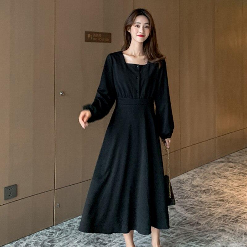 Français restauration antique col carré couleur Pure robe 2020 printemps nouveau modèle femmes simple boutonnage manches longues robe de loisirs