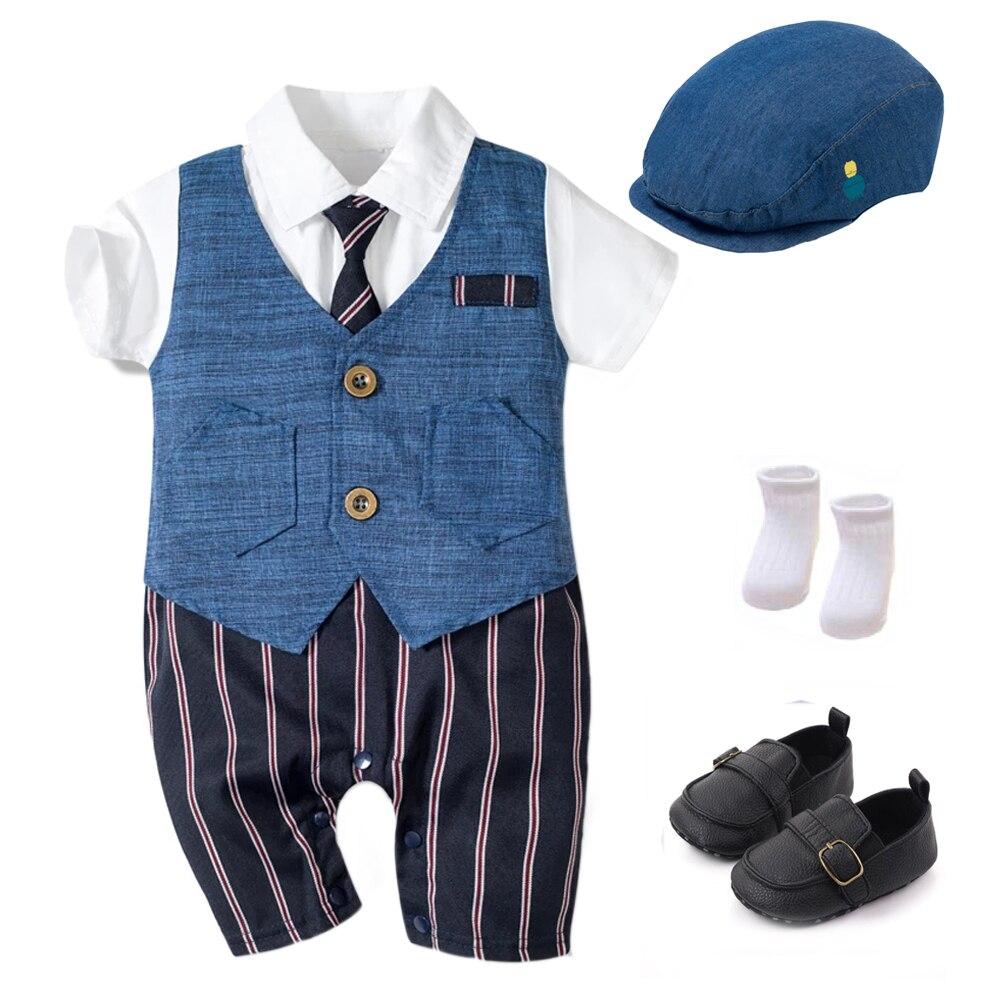 Летний детский комбинезон Одежда для новорожденных, комплекты для мальчиков официальная одежда из хлопка детская шапочка + комбинезон + туфли + носки партия из 4 штук наряд синее покроя «Принцессы» 2