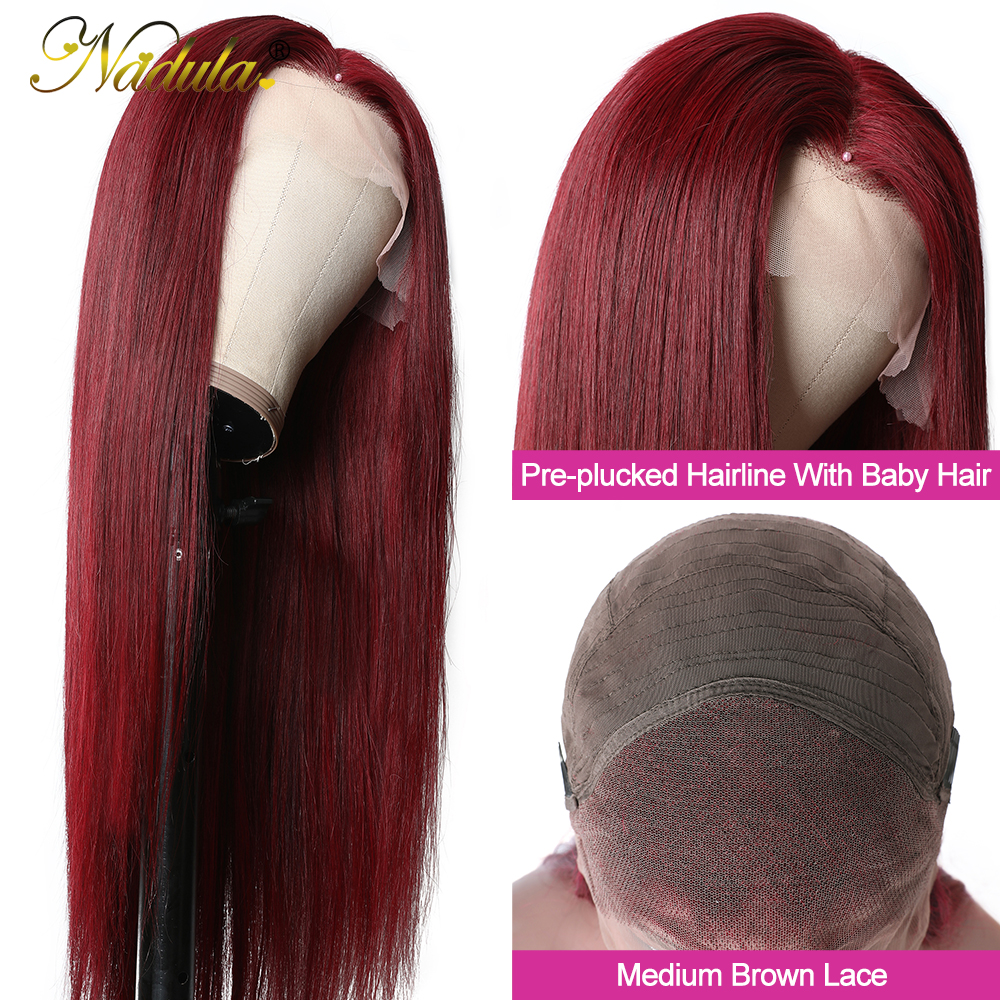 Nadula Hair #99J Burgundy Lace Front Wigs 13X4 Straight Lace Front  Wigs Pre-Plucked Red Burgundy Lace Front Wigs 2