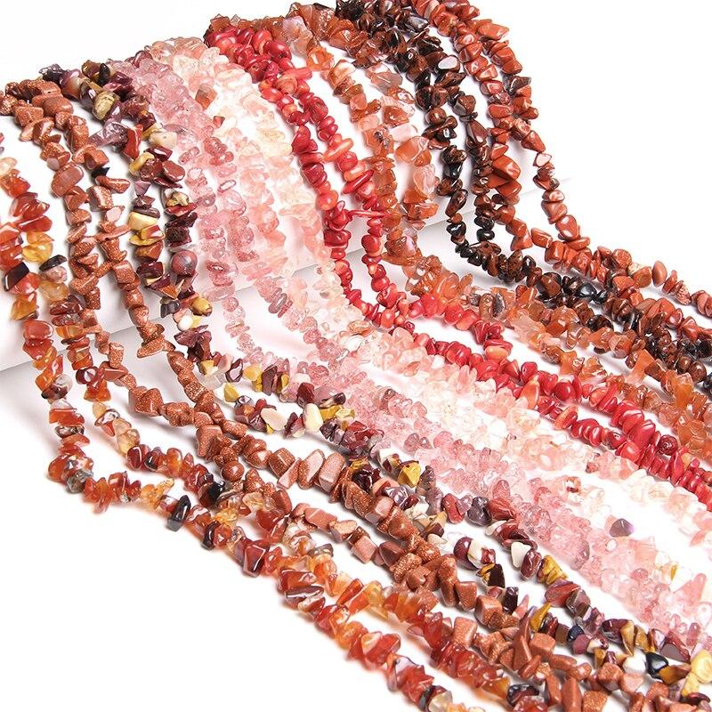 5-8 mm Irregular Freeform Chips Beads Natural Pink Quartz Red Agat Garnet Gravel Stone