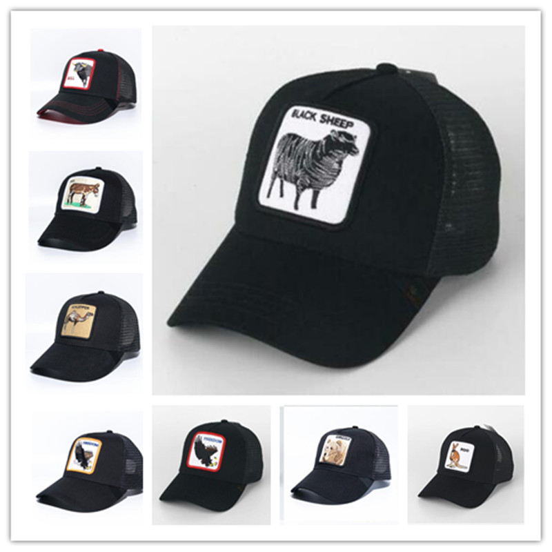 New  Summer Trucker Cap Mesh Snapback Hip Hop Hats For Men Embroidery Baseball Cap Sheep - Black