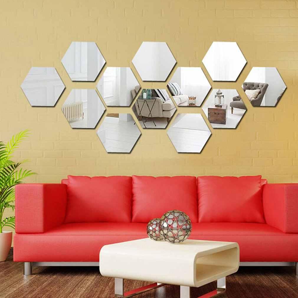 Hexágonos autoadesivos espelhados 12pçs, adesivos decorativos para o lar, para paredes do banheiro e cozinha, espelhos à prova d' água removíveis