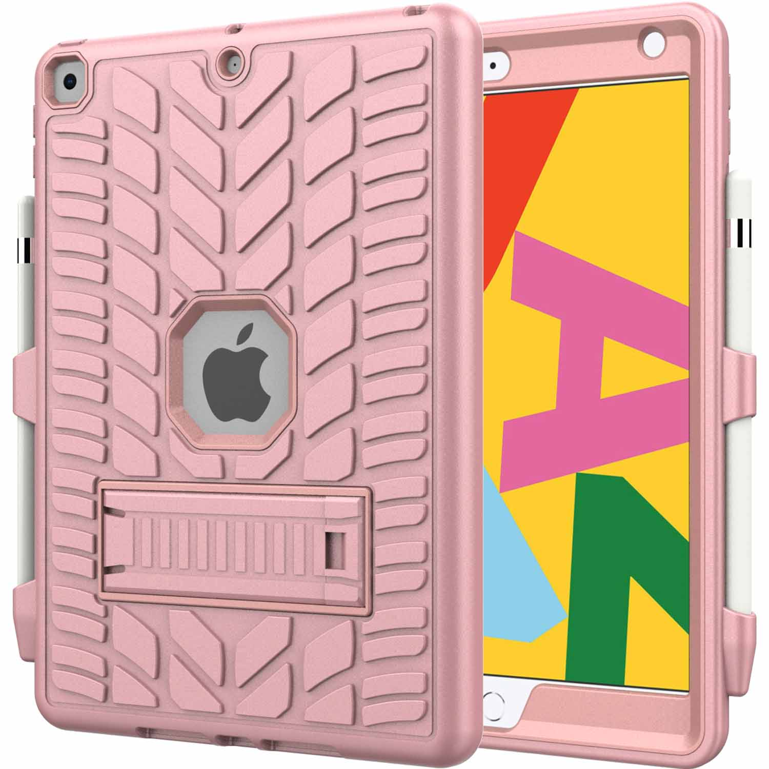 3 Green For iPad 8th Generation 10 2 Case 2020 with Pencil Holder Tire Pattern Shockproof Hard PC