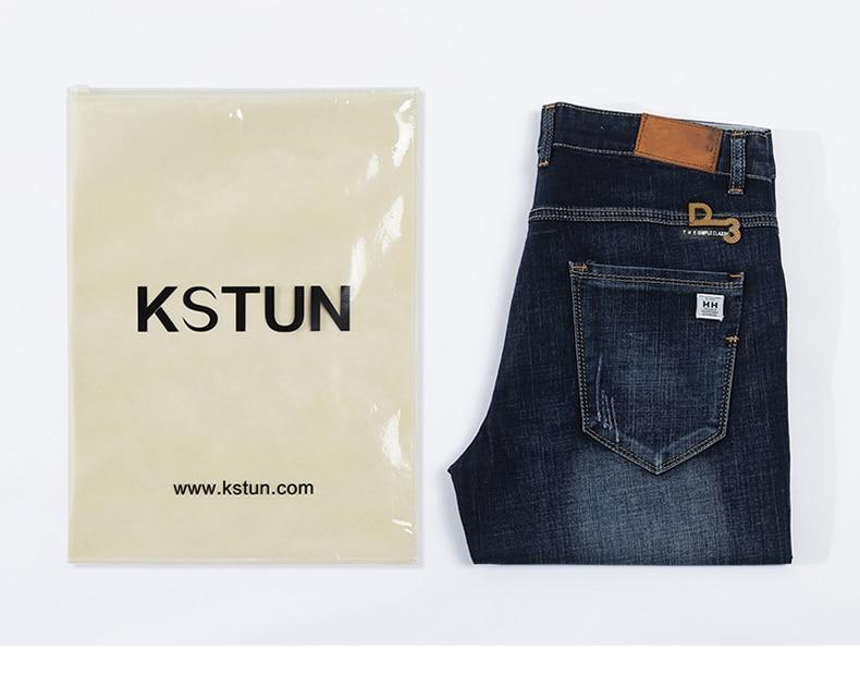 KSTUN Summer Shorts Jeans Men Denim Pants Stretch Dark Blue Fashion Design Men's Jeans Slim