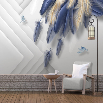 Custom Photo Wallpaper Modern Fashion Light Luxury Hand Painted 3D Golden Blue Feather Geometric Background Wall Mural