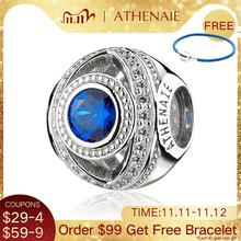 Athenaie 925 Sterling Zilver Waakzaam Oog Blauw Clear Cz Bead Charms Fit Europese Vrouwen Armbanden Christmas Gift Sieraden